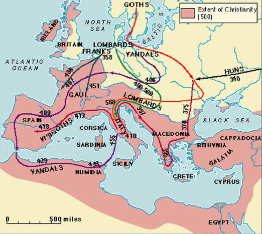 map of barbarian invasions of roman empire Barbarian Invasions map of barbarian invasions of roman empire