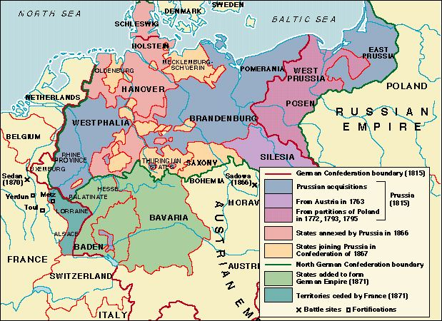 Toward The Unification Of Germany - Germany unification map