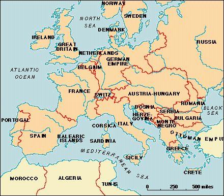 Europe Map, 1878