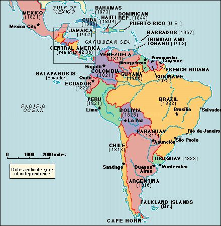 Detailed Map Of South America And Central America